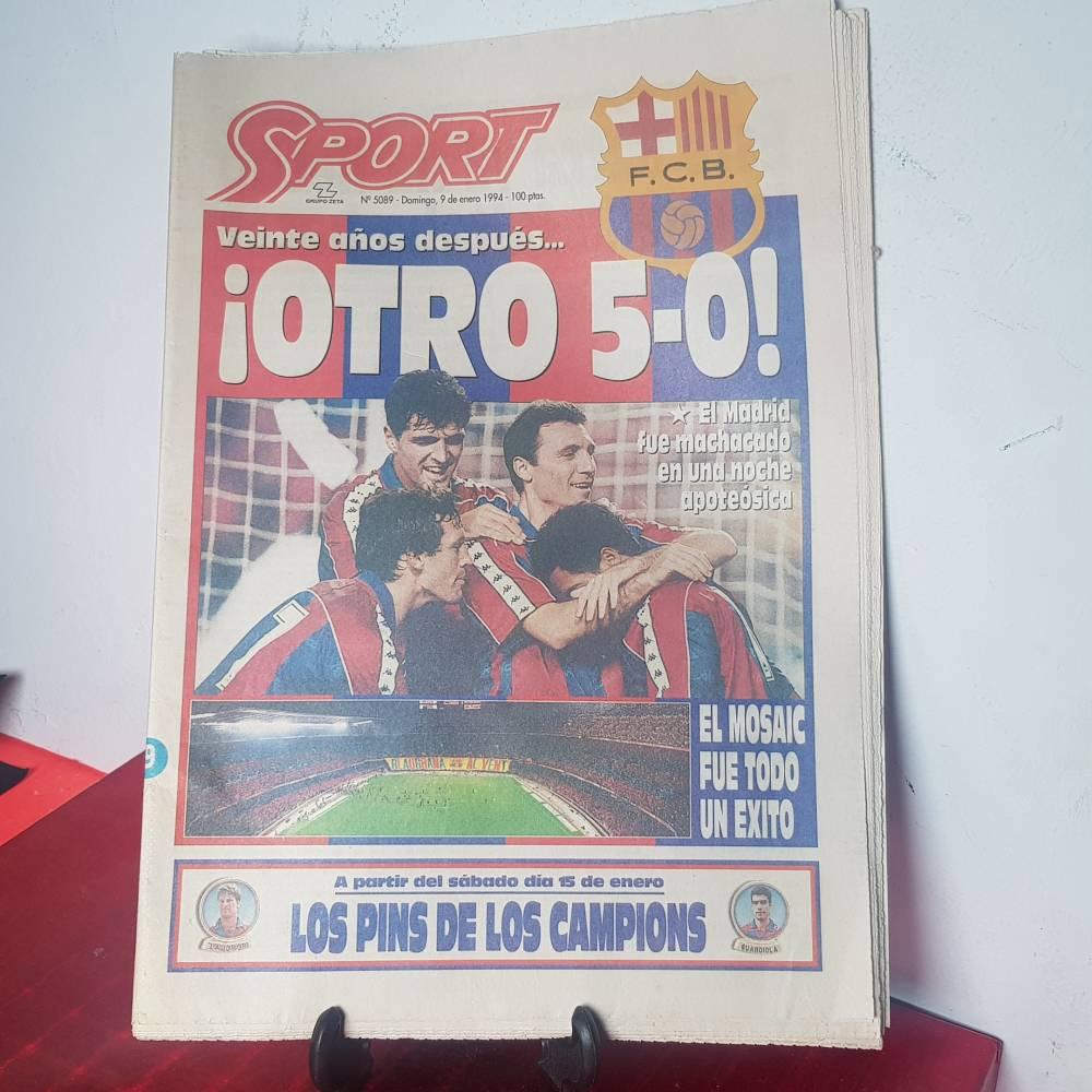 Diario Sport 5089 9 enero 1994 otro 5 0! F C Barcelona Real Madrid 8dc3193b597b0