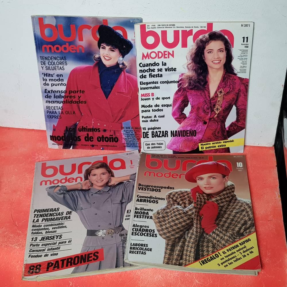 Lote Revistas Burda Antiguas Anos 80 Patrones Desplegables Moda